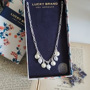 Lucky Brand Freshwater Pearl Necklace Silver NWT